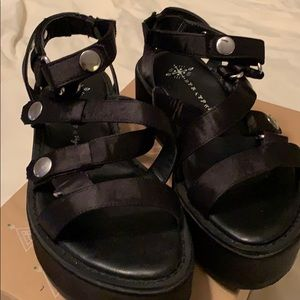 Free People black satin sandals